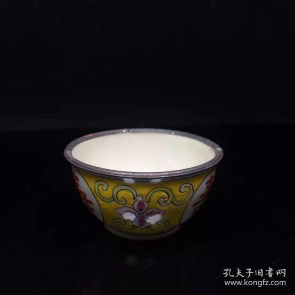 古玩收藏景泰蓝碗手工鎏银品茗陶瓷家用X