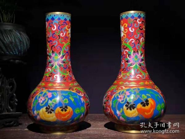 古董收藏民俗手 工艺景泰 蓝铜胎掐丝珐 琅彩净瓶一对 色泽诱人 B