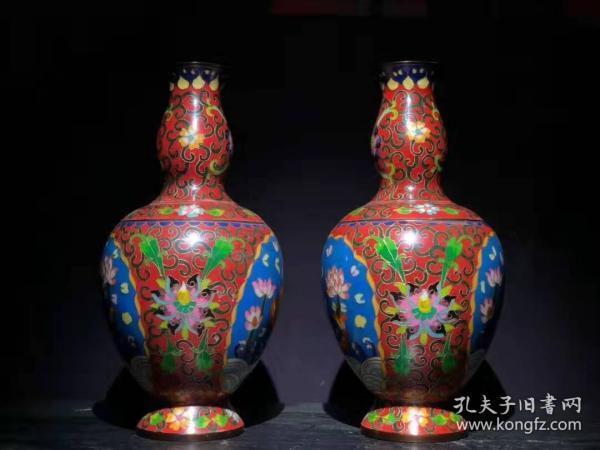古董收藏 民俗手工 艺铜胎掐 丝珐琅 彩花瓶 色泽 明亮姿态飘逸 B