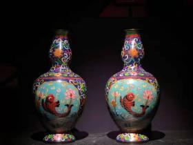 古玩收藏手工艺民俗景泰蓝铜胎掐丝珐琅彩花瓶一对端庄典雅优美 B
