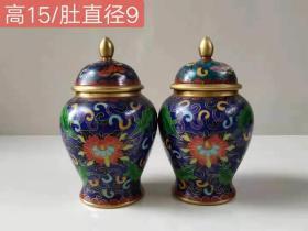 鎏金掐金丝景泰蓝将军罐,做工小巧精致,份量重手头足,品相完好成色见图……
