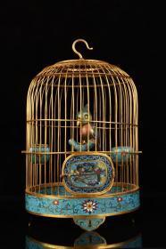 景泰蓝花卉鹦鹉鸟笼摆件