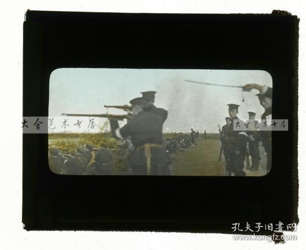 清代民国玻璃幻灯片--1911年辛亥革命湖北汉口武昌起义,起义新军士兵列队射击