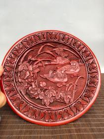 """Old Tibetan Qing Dynasty tick red lacquer ware """"Hundred Years Together"""" 鸳鸯 play water screen decoration"""