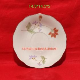 Early export porcelain, red flower and green leaf pattern Sunflower mouth old plates (6 in total. Buy one for 8 yuan)