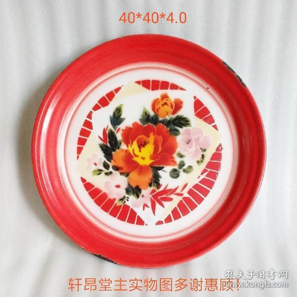 1985 Tianjin old enamel peony pattern serving plate