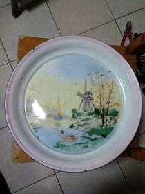 Fifties Large (Lotus) Hand-painted Scenic Enamel Plate
