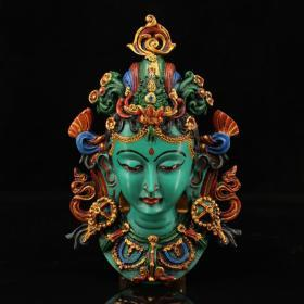 Nepal pure hand-painted gold lacquerware green Tara mask head can be wall-mounted weighing 337 grams