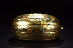 "Qing Dynasty: ""Made in the Qianlong Reign of the Qing Dynasty"" Wooden Lacquered Gourd Covered Box"