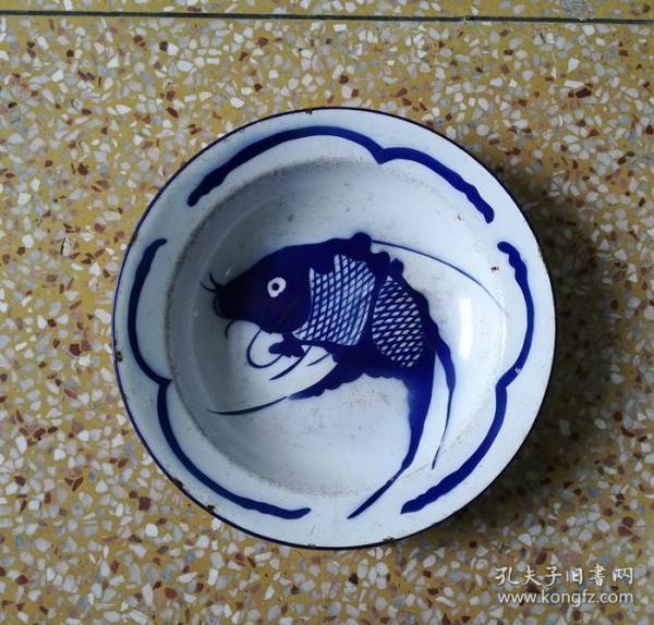 Beautiful cultural revolution blue and white fish enamel plate