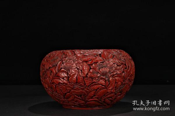 "[Old tick red ""flower blossoms rich"" bowl wash]"