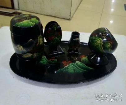 Hand-painted landscape lacquer set of 5