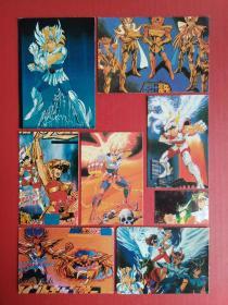 Saint Seiya --- 90's yellow edge old sticker (anime sticker, 8 pieces sold together)