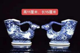 The blue-and-white sheep head of the Xuande year of the Daming Dynasty, with unique shapes, regular and exquisite shapes, and pure blue and white hair color