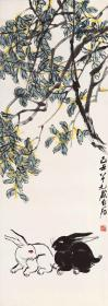 Qi Baishi-Double Rabbit Illustration. The size of the paper is 47.33 * 133.01 cm. Rice paper primary color micro-jet printing