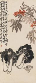 Qi Baishi-quail cabbage. The size of the paper is 45 * 103 cm. Rice paper primary color micro-jet printing