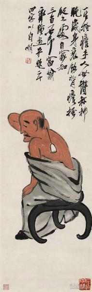 Qi Baishi-back view. The size of the paper is 34.9 * 110 cm. Rice paper primary color micro-jet printing