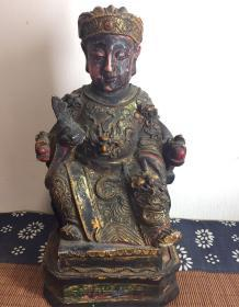 Taoist Celestial Old Buddha Statue Large Lacquer Buddha Image The bottom tire is made of wood Large Lacquer Craft About 22 High and 11.5 Wide. Fine craftsmanship, using large lacquer stacking paint on the basis of wood carving