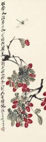Qi Baishi-Litchi and Dragonfly. The size of the paper is 33.12 * 100.41 cm. Rice paper primary color micro-jet printing
