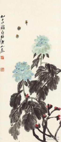 Qi Baishi-peony bee illustration. The size of the paper is 47.51 * 109.52 cm. Rice paper primary color micro-jet printing