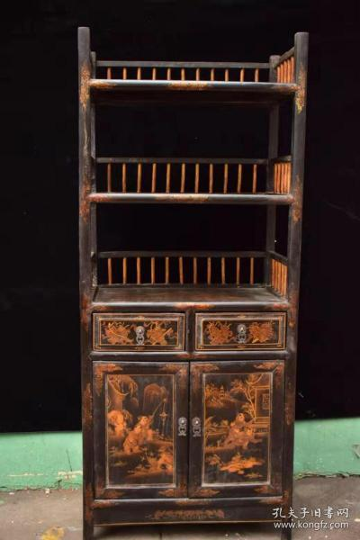 Wooden tire tracing gold lacquerware bookshelf