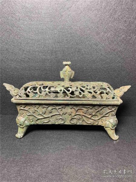 Copper rectangular flower cover Ruyi ear incense burner