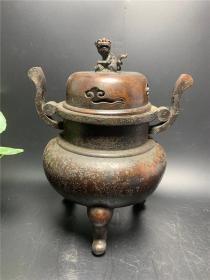 Copper Lion Covered Incense Burner