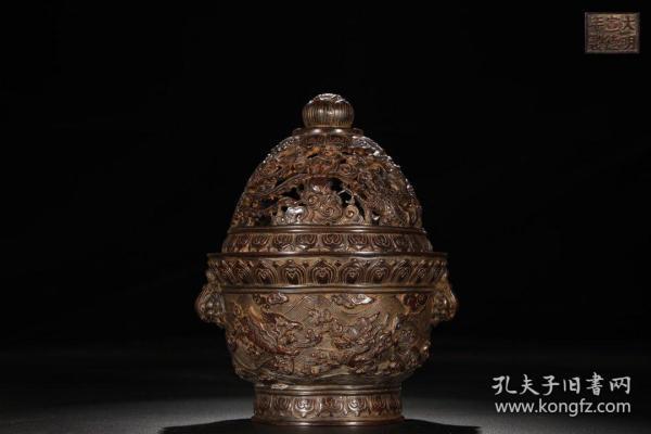 Ming-casting copper-clad seawater strange animal pattern smoker