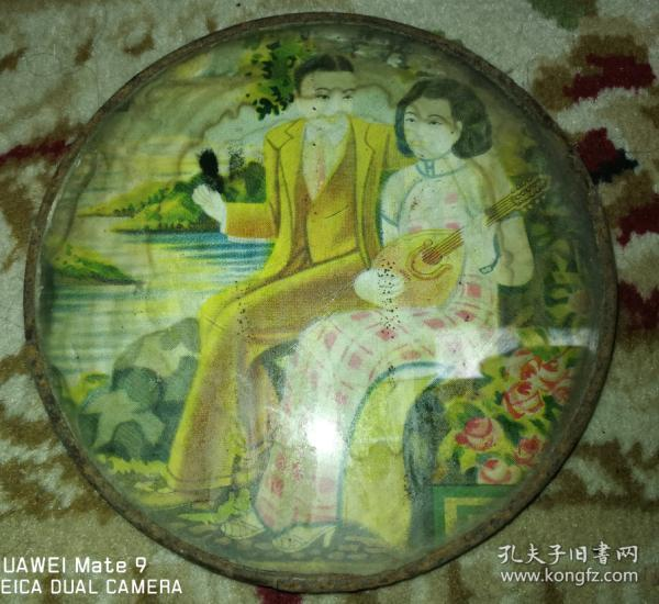 Special offer Republic of China handsome guy beauty picture mirror mirror painting New Year's bag old and rare varieties