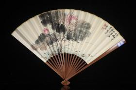 """Modern and famous master, Qi Gong's """"flower"""" folding fan"""