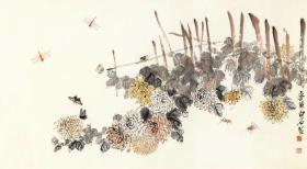 Qi Baishi-Autumn sounds. The size of the paper is 81.33 * 148 cm. Micro-jet printing on rice paper primary colors,