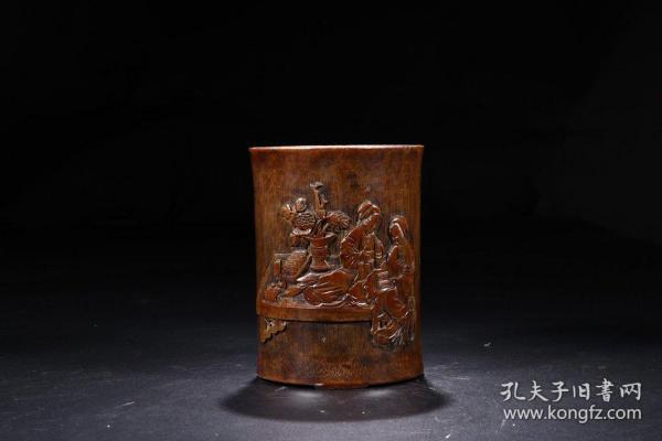 """""""Wu Zhipan"""" Bamboo Carving Erqiao Reading Pen Holder"""