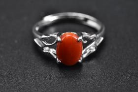 """(C0349) """"Shanhu sterling silver ring"""" A coral inlaid on a 925 silver ring holder with a certificate Coral size: 6 * 8mm Total weight: 1.59 grams Ring size can be adjusted Coral has been regarded as auspicious happiness since ancient times, it represents Nobility and power are symbols of happiness and eternity."""