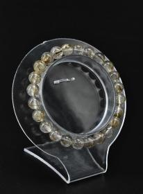 """(V5327) """"Brazil Silver Hair Bracelet"""" 1 Bracelet Bracelet 24 pieces. Circumference: 16cm, single diameter: 7.7mm, weight 14.82g, silver hair crystal is also called white hair crystal, the output is not much, meaning good luck, good peace, symbol of taste and status."""