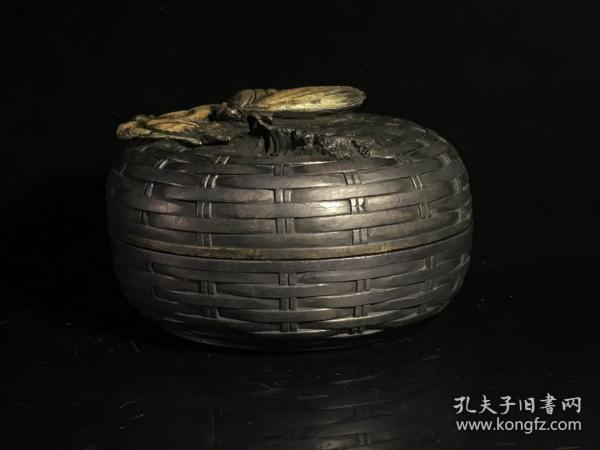 Old Tibetan Duanshi, a leaf Zhiqiu, bamboo weave with cover,