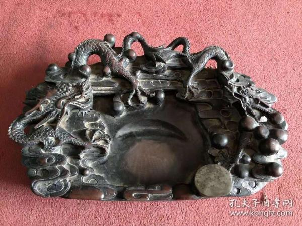Qing dynasty,  端 石雕  刻  five-claw double dragon  opera bead old platform, complete and preserved, beautiful, beautiful, complete, stone