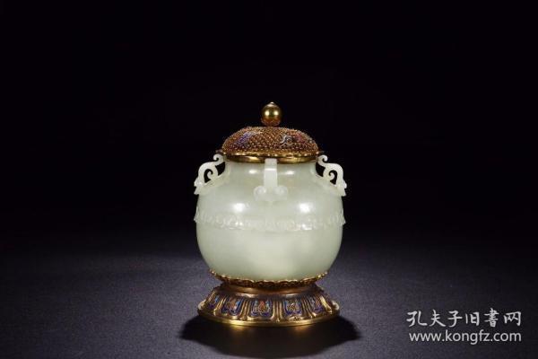 清代:和田白玉银鎏金累丝烧蓝福寿纹盖炉