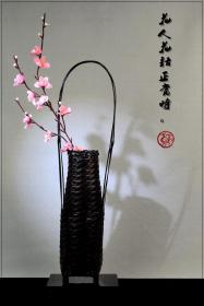 Japanese antique collectibles flower arrangement flower vase flower arrangement bamboo hand-made bamboo basket decoration genuine