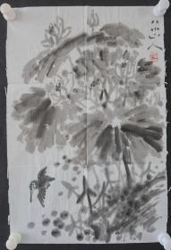 ●d17  著名畫家、花鳥師承李苦禪大師、中國美術家協會北京分會會員—錢衛國  花鳥國畫作品一幅 ,紙本軟片,尺寸約50*33厘米!