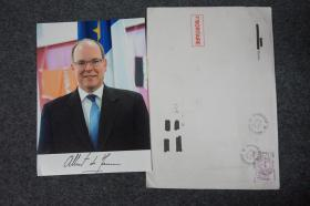 110d04 摩納哥國王 國家元首 摩納哥最高統治者 格里馬爾迪王室首領 國際孤兒慈善組織顧問 其父為摩納哥君主前親王-蘭尼埃三世 其母為奧斯卡影后-格蕾絲·凱利——阿爾貝二世(Albert II)親筆簽名、官方精美大照片1張 附贈實寄封