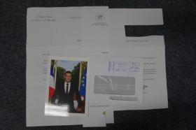 110d12 現任法國總統、法國歷史上最年輕的總統《時代周刊》2018年全球最具影響力人物—埃馬紐埃爾·馬克龍(Emmanuel Macron)、官方簽名照片1張(附有官方回信1頁 信件簽名為印刷,地址已做遮擋處理)