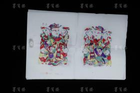 """The fifth generation of the old-fashioned workshop in Wanxian Old Store of Zhuxian Town Zhang Jizhong Refined woodblock color-printed New Year painting """"Three-year Godson"""" and """"Five-child Dengke"""" (set of four: Jizhong) HXTX307774"""