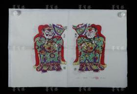 """The fifth generation of the old-fashioned workshop in Wantong Laodian, Zhuxian Town Zhang Jizhong Refined woodblock color New Year painting """"Shawl"""" and """"Flower Face"""" (set of seals: Jizhong) HXTX307781"""