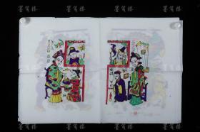 "The fifth generation of the old-fashioned workshop in Zhuxian Town Wantong Old Shop Zhang Jizhong Refined woodblock color-printed New Year pictures ""San Niang Jiao Zi"", ""Gate of God"" and ""Five Sons Deng Ke"" etc. (Seal: Ji Zhong)"