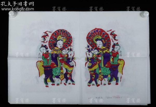"Zhang Jizhong, the fifth-generation heir to the old-fashioned workshop in Zhutong Town's Wantong old shop, refined a set of four woodblock color-printed new year pictures ""Guanzi Guanyin"", ""Nijin Douyin"", ""Fu Lushou"", and ""Cooker King"" (seal: Jizhong) HXTX307775"
