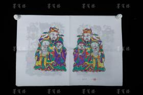 """Four sets of Zhang Jizhong, the fifth generation heir to the old-fashioned workshop in Zhutong Town Wantong old shop, refined the woodblock chroma new year paintings """"Guanguan Jinjue"""", """"Flu Shou"""", """"Jiulian Lantern"""", and """"Liu Hai"""" (set of four seals: Jizhong ) HXTX307770"""