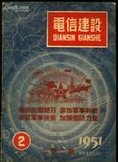 """《电信建设》杂志1951年第2期(第二卷第二期,封面为""""响应祖国号召,参加军事干校"""")"""