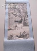 清代辽宁铁岭籍,高其佩,指头画,三羊图,尺寸为64*32cm