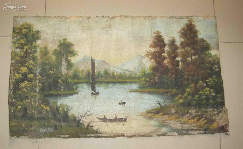 一副老油画(画在布上,有署名Daniel) (风格很像美国印象派画家丹尼尔加伯) 尺寸为73*40cm