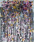 """(书法字画),吴冠中,近现代著名画家,四尺花鸟写意,·· """"白桦林 """"█ 尺寸69-59厘米"""